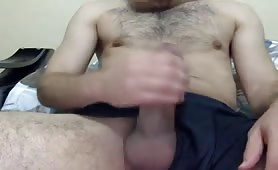 Big, Hard, Hairy and thick Turkish cock shoots his cummm