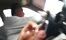 Caught cumming next to the taxi driver