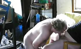 Sucking my neighbor's cock in the shed