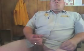 Caught Security Guard Jerking Off in his Office