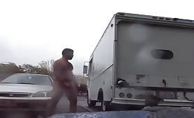 Two Hot men jerking off in public parking lot