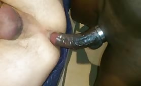 Hungry white hole getting beat up by a huge beefy black cock
