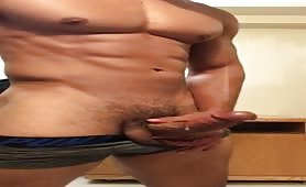 Sexy muscle stud jerking off until he cums...