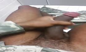 Caught Soldier army Bathroom Masturbation