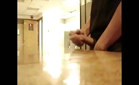 Caught jerking in mens room.