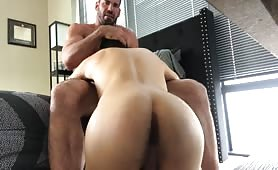 Cute daddy having fun with his twink sex toy