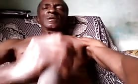 Hung Grandpa jerking off and cums for ass
