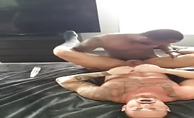 Black muscle friend fucking and breeding my tight white hole