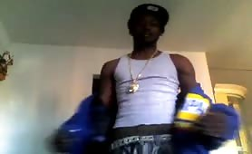 Black thug showing his huge cock on cam
