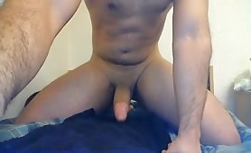 Fat ass dude with a wet hole jerking off