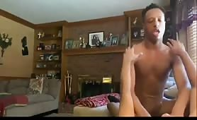 Cute rock hard verbal bottom fucked in his mamma living room hidden cam