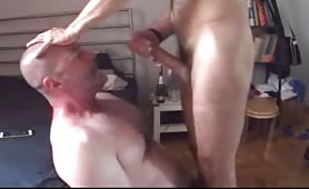 Mature white guy getting a hard face fuck