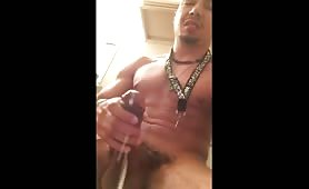 Horny puerto rican jerking and shooting a huge load