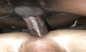 Barebacking a tight white ass with my huge black cock