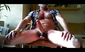 Hot mature guy wanking his long cock