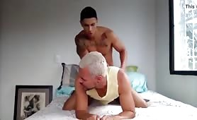Cute twink fucking a hot white hair daddy