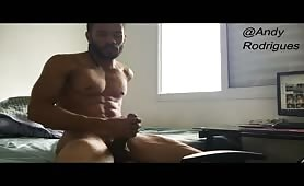 Hot muscular stud jerking off after workout