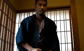 Asian dude blowing a load at a Japanese ryokan