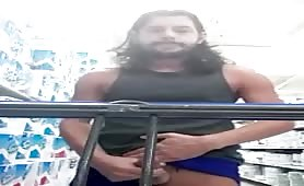 Dude wanking his 10 inch cock in the supermarket