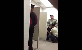 Caught some guys having fun in a public toilet
