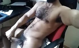 Hairy spanish guy enjoying himself