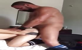 Young bottom screams when he gets fucked and filled by daddy