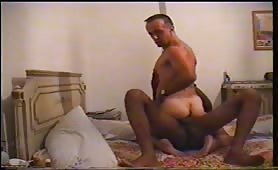 Hot black arab stud nailing a sexy white dude ass