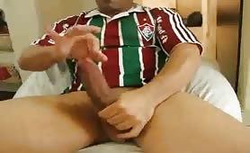 Hot horny guy masturbates in front of the webcam