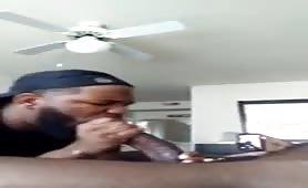 Sucking my straight roommate big black cock
