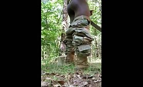 Soldier almost caught jerking off in the woods