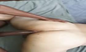 Big massive black hose breaking a white tight ass