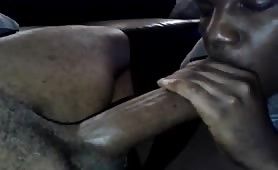Horny young nigga eating a huge beefy cock