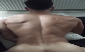 Fucking my colleague muscle ass