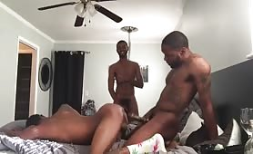 Three horny black studs having a good time