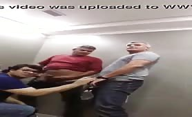 Two mature guy spying in public toilets