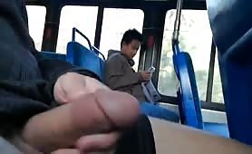 Jerking off on a public bus