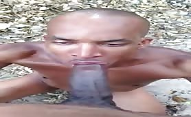 Homeless guy sucking off a huge african cock
