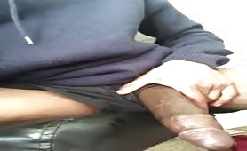 Black thug showing his huge meaty cock and wet hole