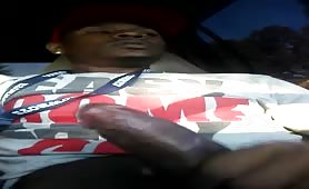 Moaning while stroking my dick in the truck