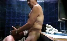 Spying two mature guys fucking in  a sauna