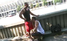 Sexy bodybuilder having raw sex in public