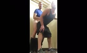 Cute horny guys fucking in the gym stairs