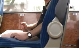 Horny latin dude jerking off in a public bus