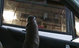 Nigga flashing his cock to a bus