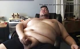 Huge horny fat guy jerking off his small cock