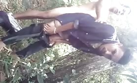 Two married guys fucking in the bush hidden from their wives