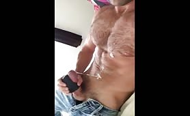 Cute hairy and muscular stud plays with his small cock
