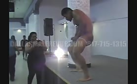 Sexy male stripper drives the ladies crazy with his hot body and moves