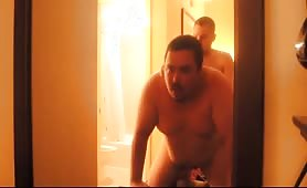 Fat married macho resisting a good fuck in the bathroom