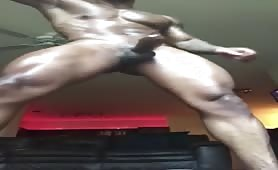 Hot muscle stud doing a solo show